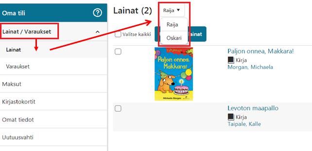 Kaikkien lainat näkyvät yhdellä kirjautumisella kun valitsee eri kirjastokorttien nimet
