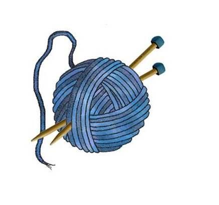 Sininen lankakerä ja puikot piirrettynä