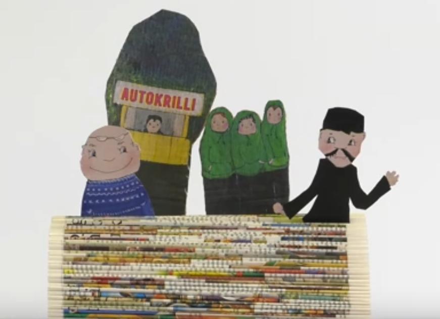Kolme eri hahmoa sekä Autokrilli-niminen kioski kurkivat kirjan sivuista